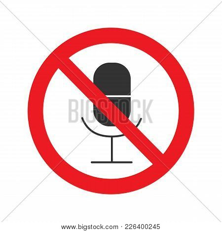 Mute Glyph Icon. Microphone In Prohibition Circle. Without Sound. Silhouette Symbol. Negative Space.