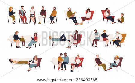 Collection Of Men And Women Or Married Couples Sitting On Chairs Or Lying On Sofa And Talking To Psy