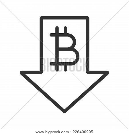 Bitcoin Rate Falling Linear Icon. Cryptocurrency With Down Arrow. Thin Line Illustration. Bitcoin Co