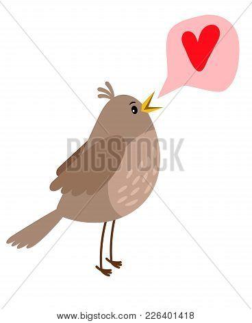 Nightingale Cute Cartoon Bird Icon On White Background Vector Illustration