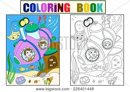 Children Exploring The Underwater World In A Submarine Color Pages For Children Cartoon Vector Illus