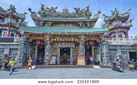 Tainan, Taiwan - November 3, 2017: Temple Near Anping Fort On 3 November 2017 In Tainan, Taiwan. It