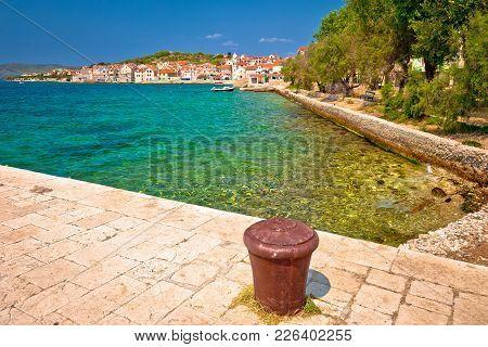 Turquoise Beach Of Prvic Island And Town Of Prvic Sepurine View, Sibenik Archipelago Of Dalmatia, Cr