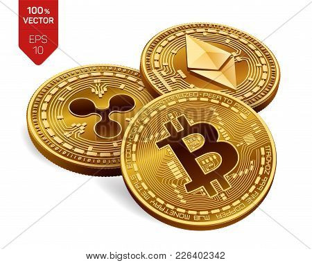 Bitcoin. Ripple. Ethereum. 3d Isometric Physical Coins. Digital Currency. Crypto Currency. Golden Co