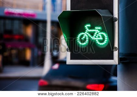 Bicycle Traffic Light Switched To Green Colour