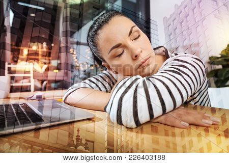 Short Nap. Beautiful Young Responsible Employee Relaxing At Her Workplace And Having A Short Nap Bef