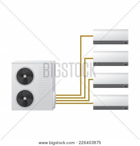 The Air Conditioning System Vector Illustration. One Outdoor And Four Indoor Unit. Hvac Concept. Air