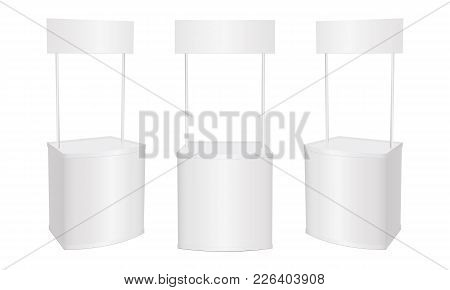 Set Of Blank Promotion Stands Isolated On White Background. Promo Counter Kiosk Mockup. Vector Illus