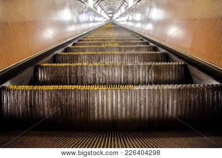 View Of Moving And Empty Escalator Going Up