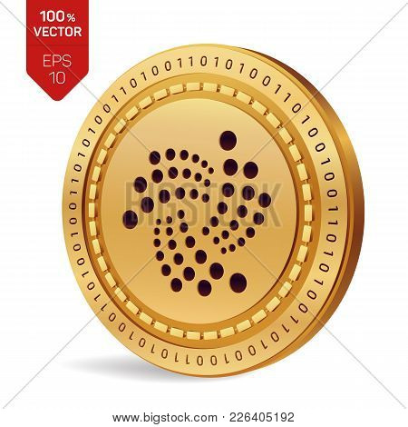 Iota. 3d Isometric Physical Coin. Digital Currency. Cryptocurrency. Golden Coin With Iota Symbol Iso