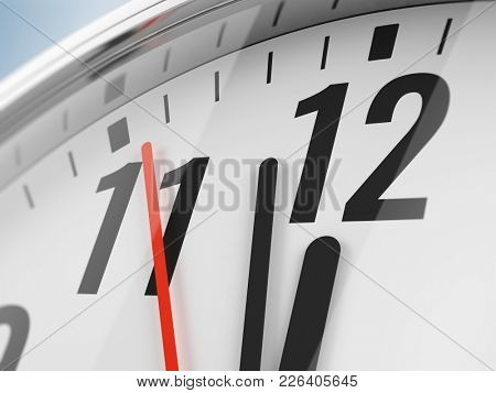 Time, deadline concept, closeup of hands on clock face. 3d illustration