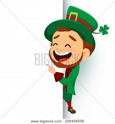 Cartoon Funny Leprechaun Showing On Blank Placard
