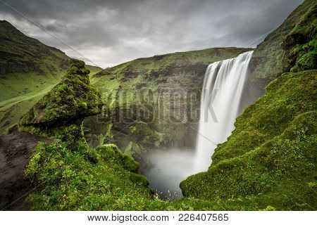 Skogafoss Waterfall In Southern Iceland Viewed From Above. Long Exposure.