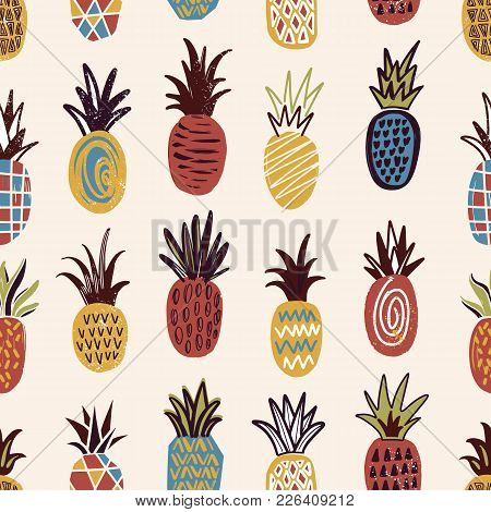 Seamless Pattern With Pineapples Of Various Color And Texture On Light Background. Backdrop With Exo
