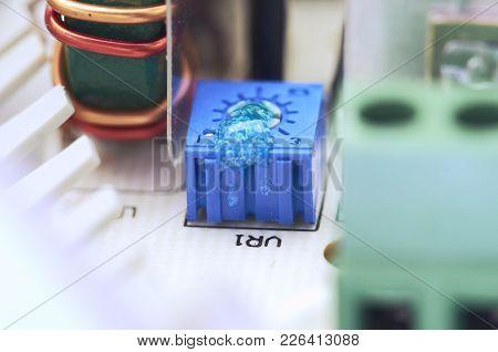 Closeup Of Video Intercom Power Supply, Components.
