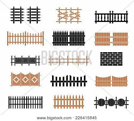A Large Set Of Fences. Rural Wooden Fences, Pickets Vector. Different Garden Fences Vector Illustrat