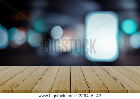 Empty Wooden Table With Blurred City Night Background,product Display Montage Concept,template Mock