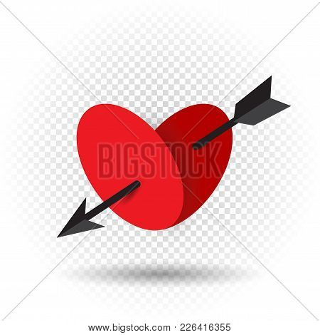 Beautiful Love Heart Pierced By An Arrow Of Cupid With Shadow On Transparent Background. Red Romanti