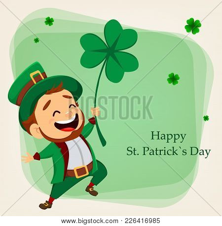 Cartoon Funny Leprechaun Holding Clover