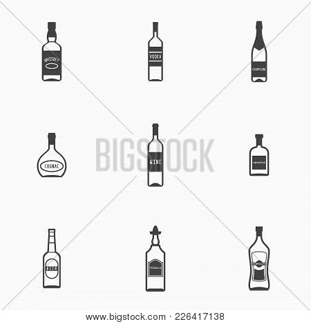 Set Of Bottles With Alcohol Drinks Monochrome Icons. Whiskey, Vodka, Cognac, Wine, Beer, Absinthe, T