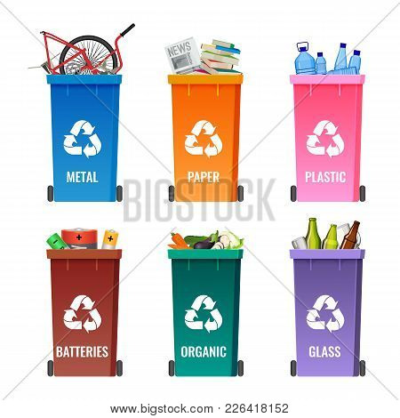 Containers Set For Sorting Garbage Blue For Metal, Orange Paper, Pink Plastic, Brown Batteries, Gree