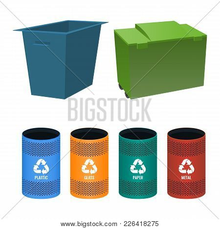 Set Of Buckets For Sorting Garbage With Signs Of Plastic, Metal Glass And Paper, Big Packs For Rubbi