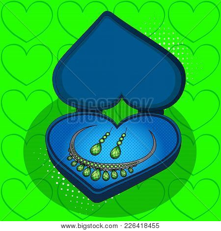 Diamond Necklace And Earrings On Blue Gift Box In The Shape Of Heart Pop Art Retro Vector Illustrati