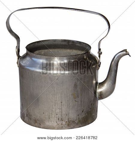 Old Kettle Isolated On White Background. Metal Brass Kettle End Of The 19Th Beginning 20Th Century.