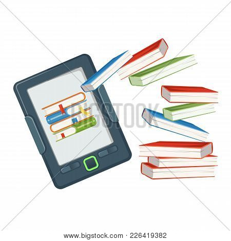 Electronic Book Device Contains Millions Of Paper Books Published In Digital Form, E-book Vs Real Te