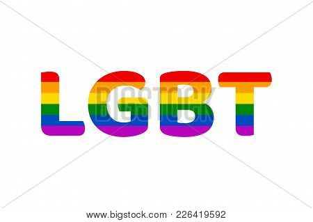 Lgbt Rainbow Flag Color Clipart, Isolated On White Background. Symbol Movement Of Gays, Lesbians And