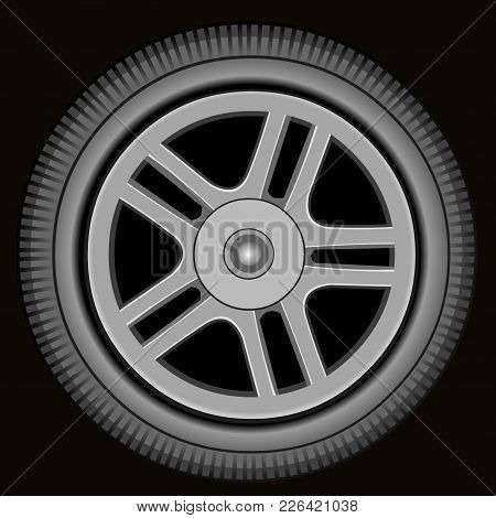 Drawn Automotive Grey Wheel With Alloy Wheel On Black Background