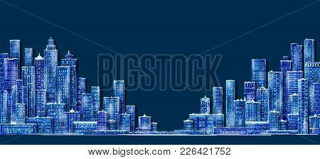 Cityscape At Night Sketch. Hand Drawn Illustration