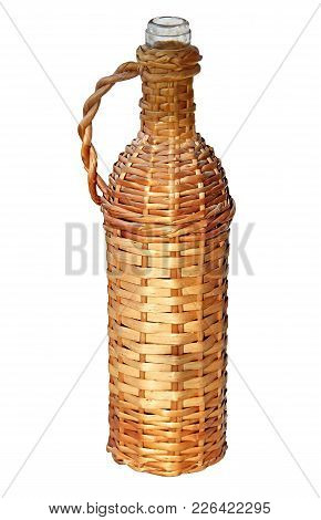Braided Wine Bottle With Handle Isolated On White Background