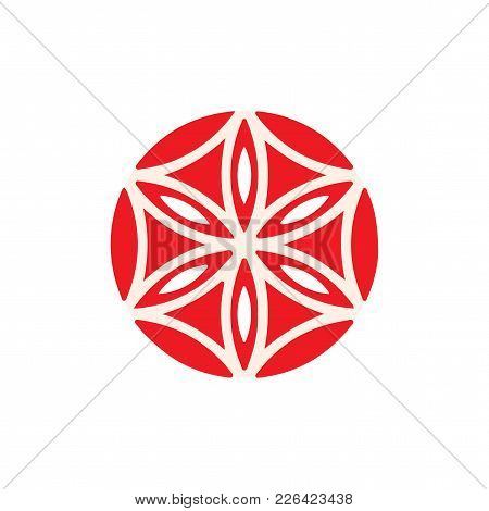 Vector Symbol: The Flower Of Aphrodite Made Up Of Six Vesica Piscis. The Rose Of Aphrodite, Known As