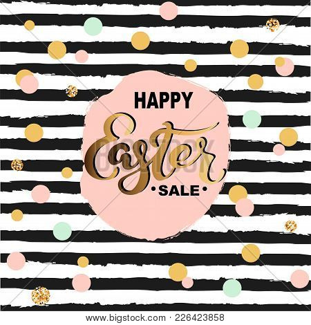 Happy Easter Sale. Hand Drawn Lettering For Card/banner/logo/badge/web/poster/store. Discount Time.