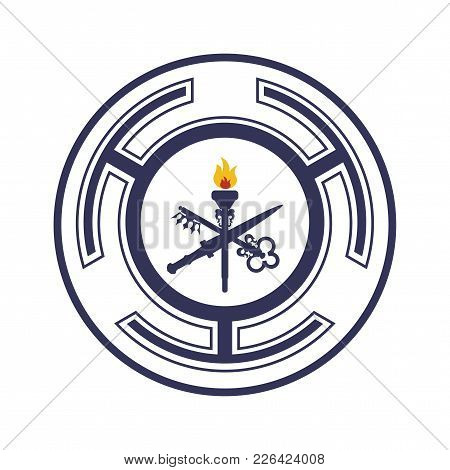 Goddess Hecate Also Known As Triple Goddess Crone Or Trivia Vector Symbol. Hecate Wheel Sign Or Seal