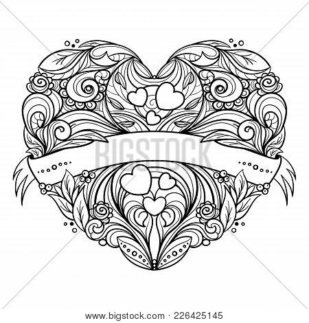 Decorative Heart With Floral Pattern And Ribbon. Black Line Art. Hand Drawn Vector Graphics Illustra