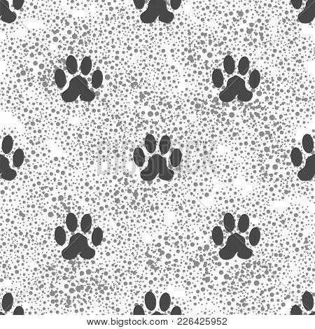 Seamless Cat Animal Paw Pattern. Print Of Dog Paw Background
