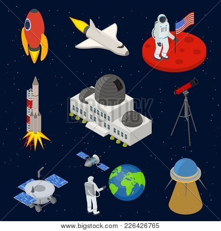 Space Signs 3d Icons Set Isometric View On A Blue Sky Background Include Of Shuttle And Spaceman . V