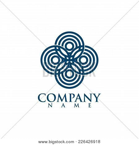 Abstract Business Company Logo. Corporate Identity Design Element. Color Circle Segments Mix, Round