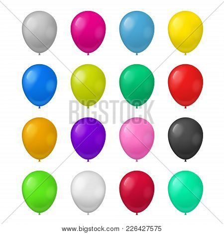 Realistic Detailed 3d Color Balloons Set Symbol Of Holiday, Party, Birthday And Celebration . Vector