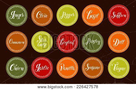 Big Icon Set Of Popular Culinary Spices. Stickers For Packaging. Ginger, Clove, Pepper, Basil, Suffr