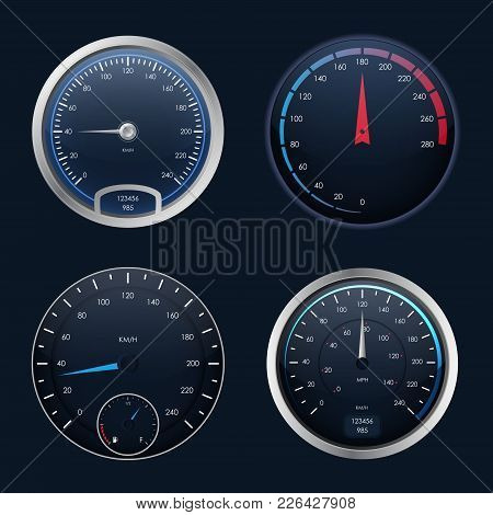 Realistic Detailed 3d Speedometers Set Control Speed Auto On Dashboard, Gauge Measurement Car. Vecto