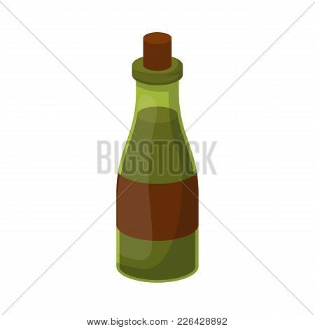Vector Illustration With Cartoon Isolated Olive Oil Bottle. Healthy Fat Food Icon. Vector Greet Oil