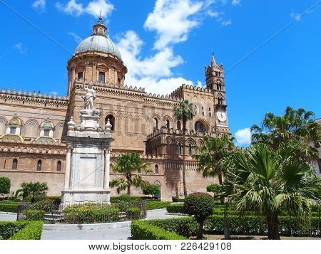 Palermo Cathedral Church In Vity Of Sicily, Towers Of Medieval Building In Italy With Cloudy Blue Sk