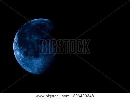 High Contrast Waning Gibbous Moon, Almost Full Moon, Seen With An Astronomical Telescope With Copy S