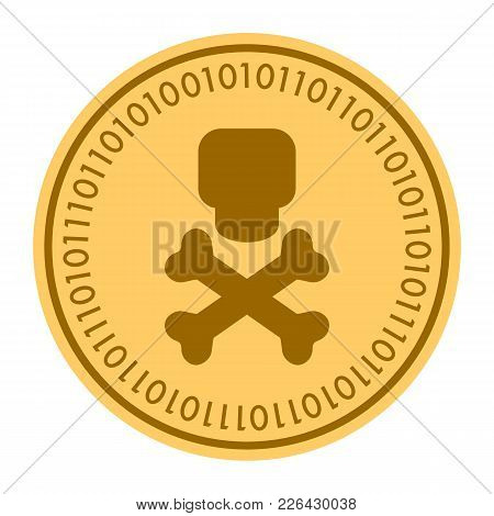 Skull And Crossbones Golden Digital Coin Icon. Vector Style. Gold Yellow Flat Coin Cryptocurrency Sy