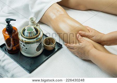Aromatherapy Massage Series: Closeup Of Leg Massage