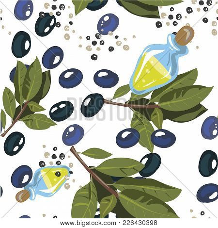Olives With Olive Branch And Olive Oil Isolated On White Fon. Seamless, Set, Patern Hand Drawn On St