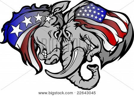 poster of Cartoon Images of  Political Mascots Donkey and Elephant